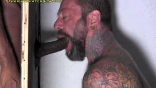 tyler gets his big black cock worshipped at glory hole