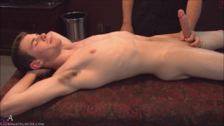 straight guy gets rock hard on massage table
