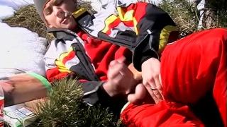 ski bum takes a smoke break and jacks his dick