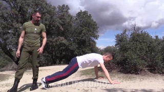 spanish daddy trains his boy outside