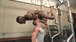 aaron reese strung up on workout equipment