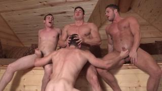 4 studs fucking in a sauna