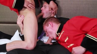 executive has threeway with two bellboys