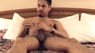texan jacks his 10-inch uncut cock