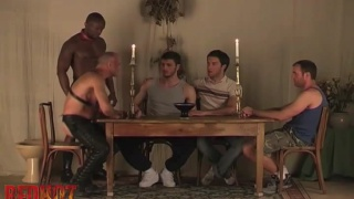 5 guys sit around a communal bowl of sperm