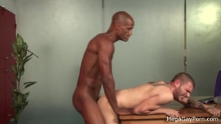 white boy bent over his desk and screwed
