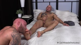 bald brothers worship one another's bare feet