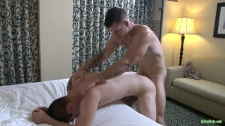 quentin gainz bends over the bed for a hard fuck