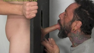 donny forza unloads at a glory hole