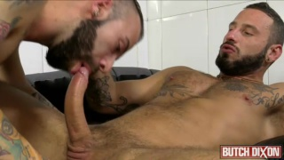 two bearded spanish men fuck around