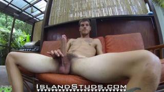 hung stud plays his ukulele naked