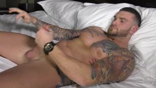 beefy inked dude chris jacks his 9-inch cock