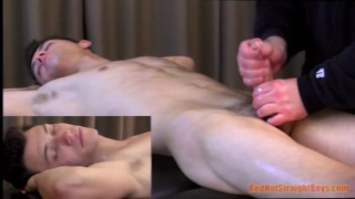 21-year-old straight boy gets huge dick milked