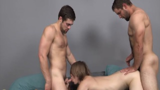2 bearded tops raw fuck blond bottom