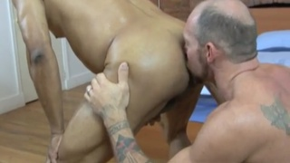 bald daddy eats hole before getting fucked