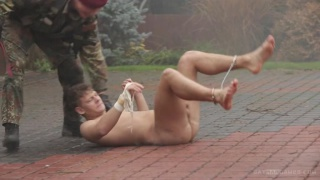 muscled captives gets it from a soldier