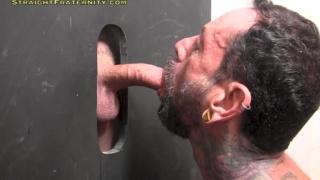 coach bill sticks his curved dick through a glory hole