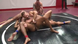 4 studs tag-team wrestle and fuck