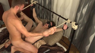 young lad tied to the bed and screwed hard
