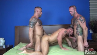 husbands Vic Rocco and Jon Galt bare fuck Aarin Asker