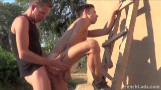 french farmer fucks boy against a wall