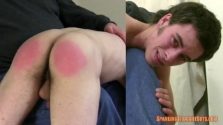 good-looking straight boy's red-assed spanking