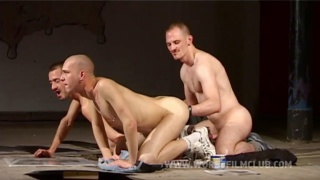 three hunky lads in extreme ass play scene