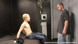 Brandon feasts on Aaron's low hangers and cock