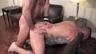 barebacking daddy rides skinny dude's dick