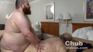 bearded top with huge belly fucks ass