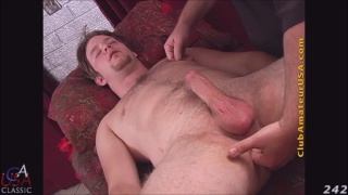 bisexual guy gets done on massage table