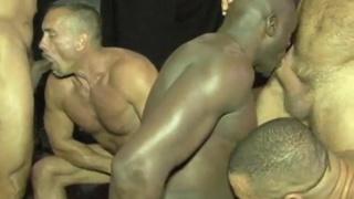 five men gang banging in a gym