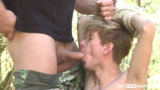 bound blond lad fed dick