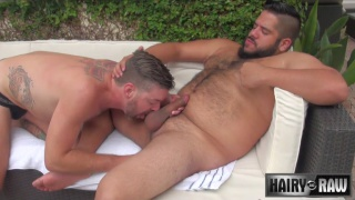 bearded bear fucks his buddy outdoors