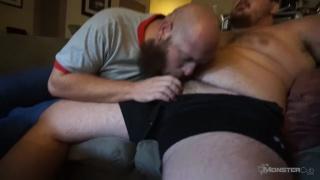 bald bearded bear sucks chub cub's cock