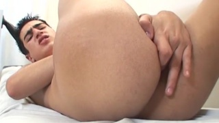 Young Latino Raul fingers his hole in doctor's office