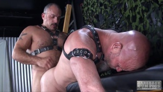 slave tied to cross watches his daddy fuck ass