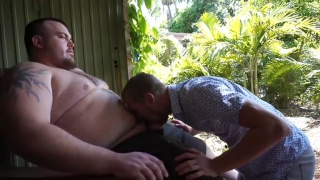 skinny guy blow a giant bear cub