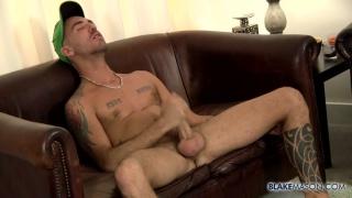 Jessy Karson jacks his huge cock at blake mason