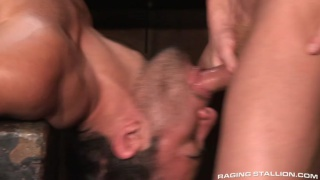 muscle hunk gets face fucked in blacksmith shed