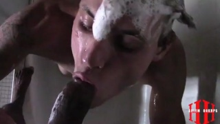 black guy gives cocksucker facial in the shower