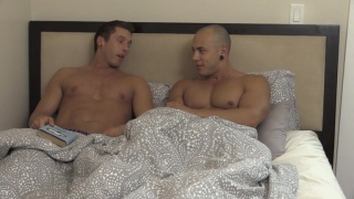 handsome couple make love in bed