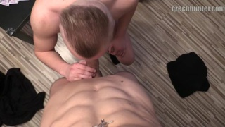 blond lad sucks his first dick for cash