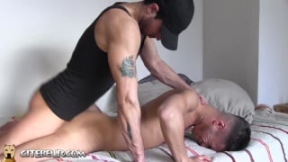alegerian boy pushed down on the mattress and fucked