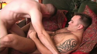 Bisexual guys jack off together