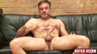 hairy daddy Kristofer Weston beats off