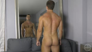sam shows off his bubble butt before jerking off