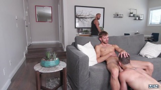 stepdad walks in on one stepson fucking the other