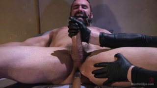 bound Jaxton Wheeler gets cock teased by two masked men