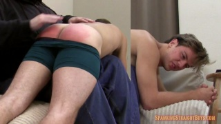 19-year-old blond straight boy goes over the knee